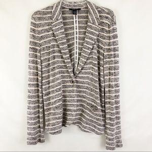 Style & Co Stripe Knit Blazer One Button Size M